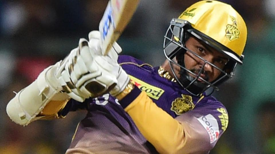Bengaluru : Kolkata Knight Riders Sunil Narine plays a shot during their IPL 2017 match against Royal Challengers Bangalore.