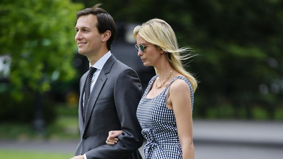 Jared Kushner and Ivanka Trump make their way across the South Lawn to board Marine One at the White House in Washington, DC on May 4.