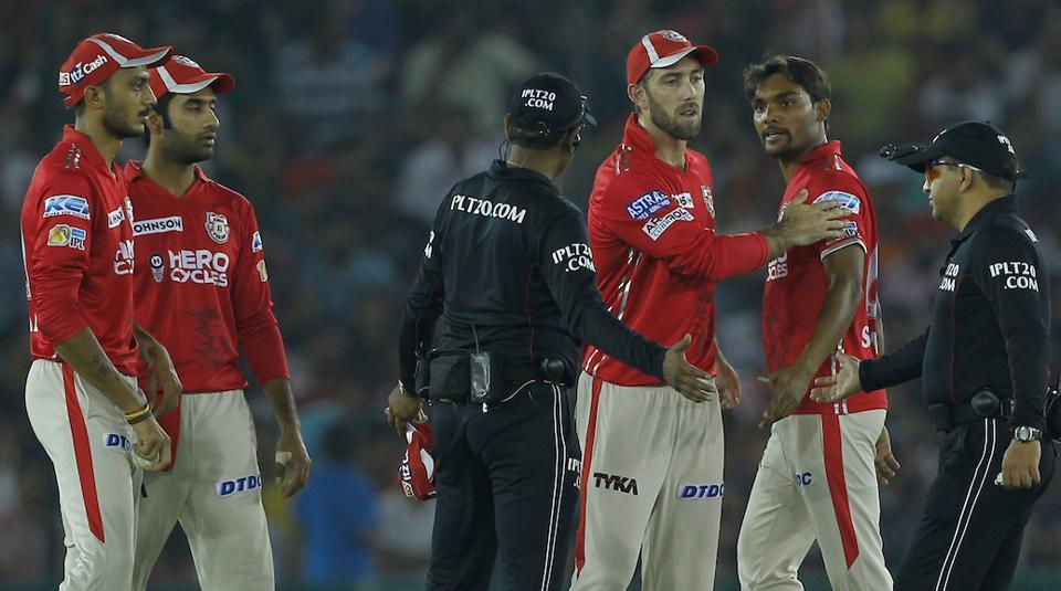 Sandeep Sharma of Kings XI Punjab (KXIP) during the argument with umpires in the Indian Premier League (IPL) match against Gujarat Lions (GL) held at the Punjab Cricket Association IS Bindra Stadium in Mohali on Sunday.