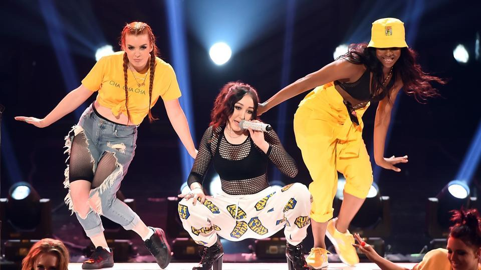 Singer Noah Cyrus during her performance at the awards ceremony. (AFP)