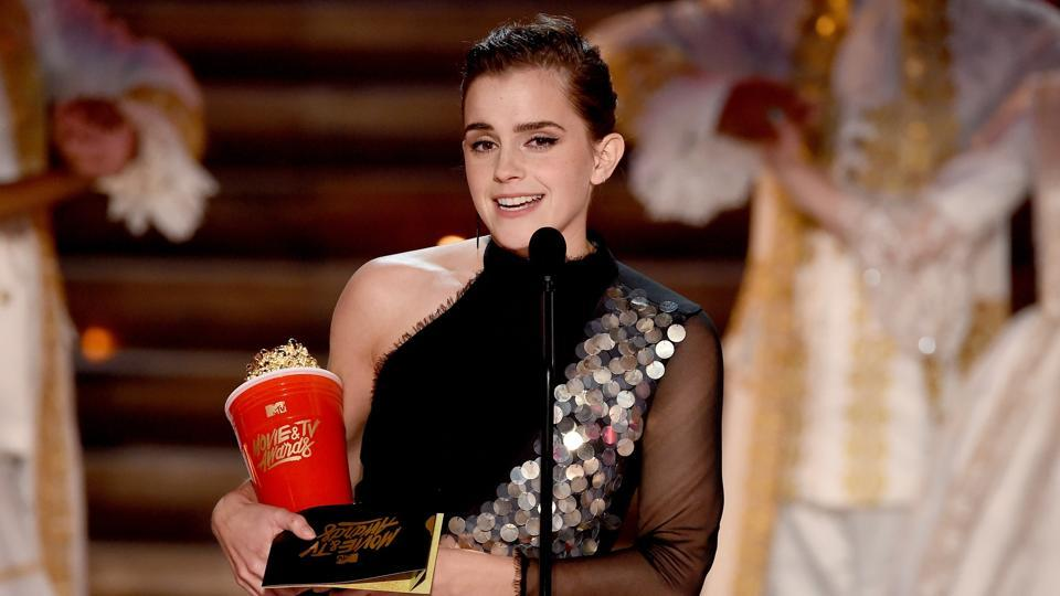 Actor Emma Watson accepts Best Actor in a Movie for Beauty and the Beast onstage during the 2017 MTV Movie And TV Awards.