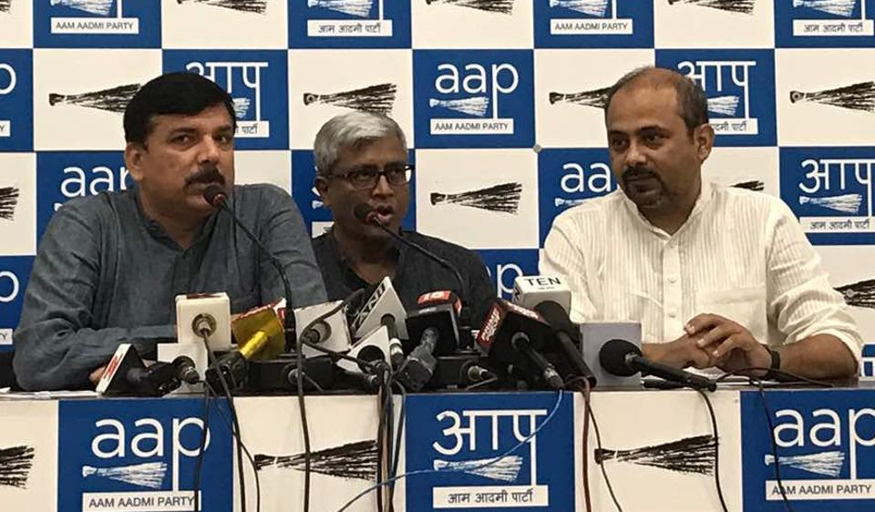 AAP leaders Sanjay Singh, Ashutosh and Dilip Pandey (left to right) at a press conference in Delhi on Monday.
