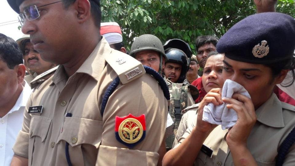 The woman IPS officer, who was seen wiping her eyes, has been quite active in the newly formed anti-Romeo squad.
