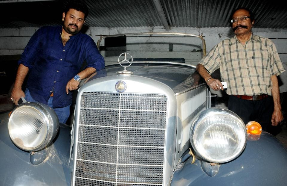 Jaiswal family's fourth and fifth generation, Manoranjan Jaiswal (right)and  Aditya Vikram Jaisawal (left) along with the family's priceless  Vintage Car,  Mercedes Benz 170 v Roadster at their house in Lalpur, Ranchi
