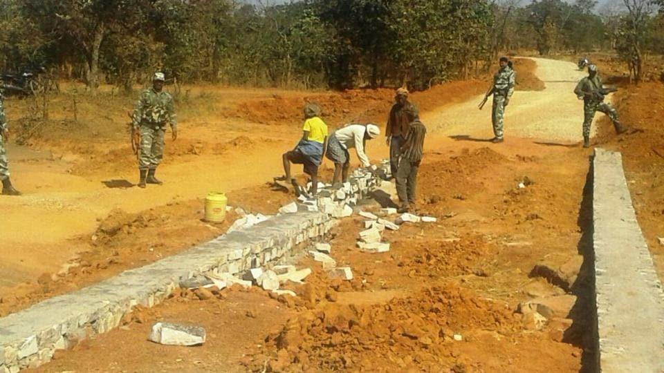 Construction of the Adhaura-Akbarpur road under CRPF vigil at Kaimur.