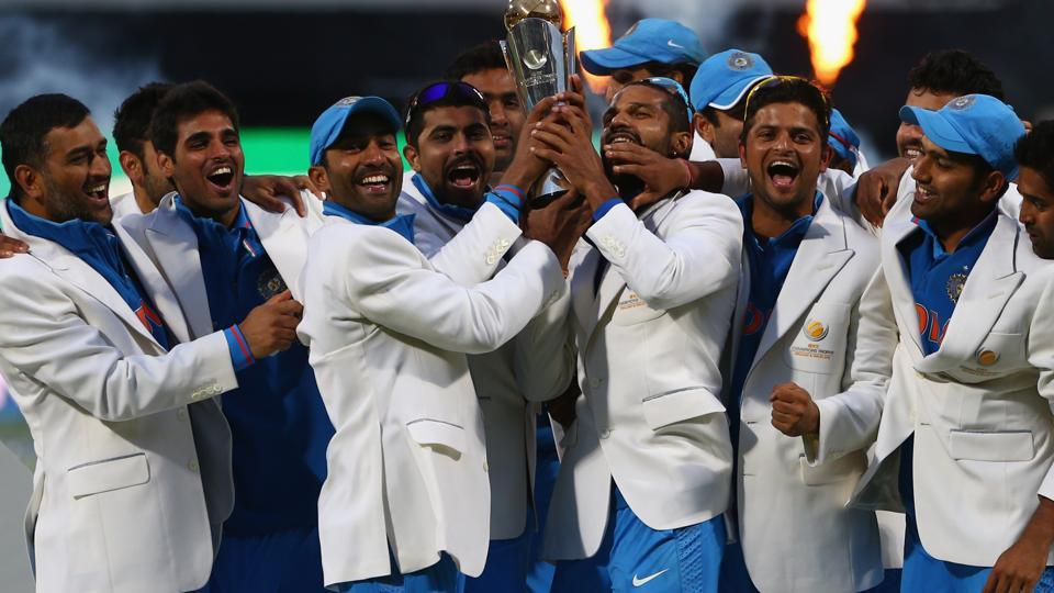 The Indian cricket team celebrates after its five-run victory against England in the ICC Champions Trophy final at Edgbaston on June 23, 2013 in Birmingham.