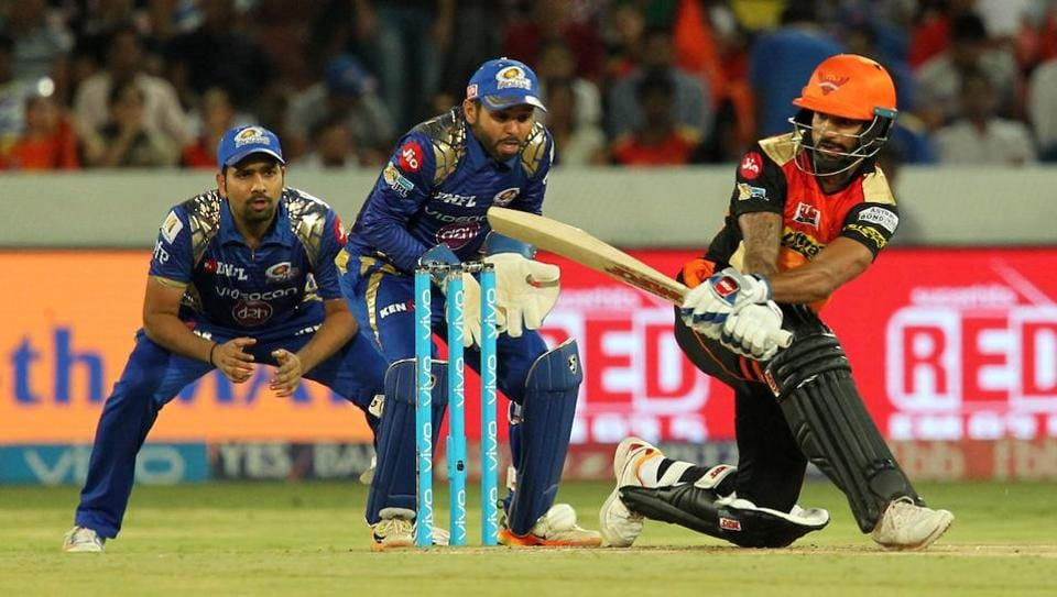 Shikhar Dhawan guided the Sunrisers Hyderabad to a seven-wicket win over Mumbai Indians in IPL 2017 at the Rajiv Gandhi International Stadium in Hyderabad on Monday. Catch full cricket score of Sunrisers Hyderabad vs Mumbai Indians here.