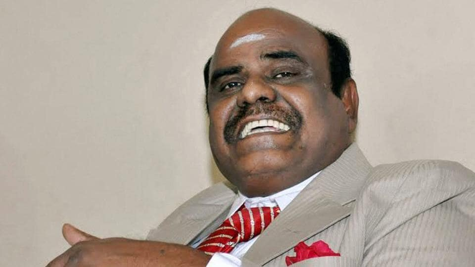 Justice C S Karnan of Calcutta high court addressing a press conference at his residence in Kolkata on May 4 after he refused to undergo a  medical test ordered by the Supreme Court.