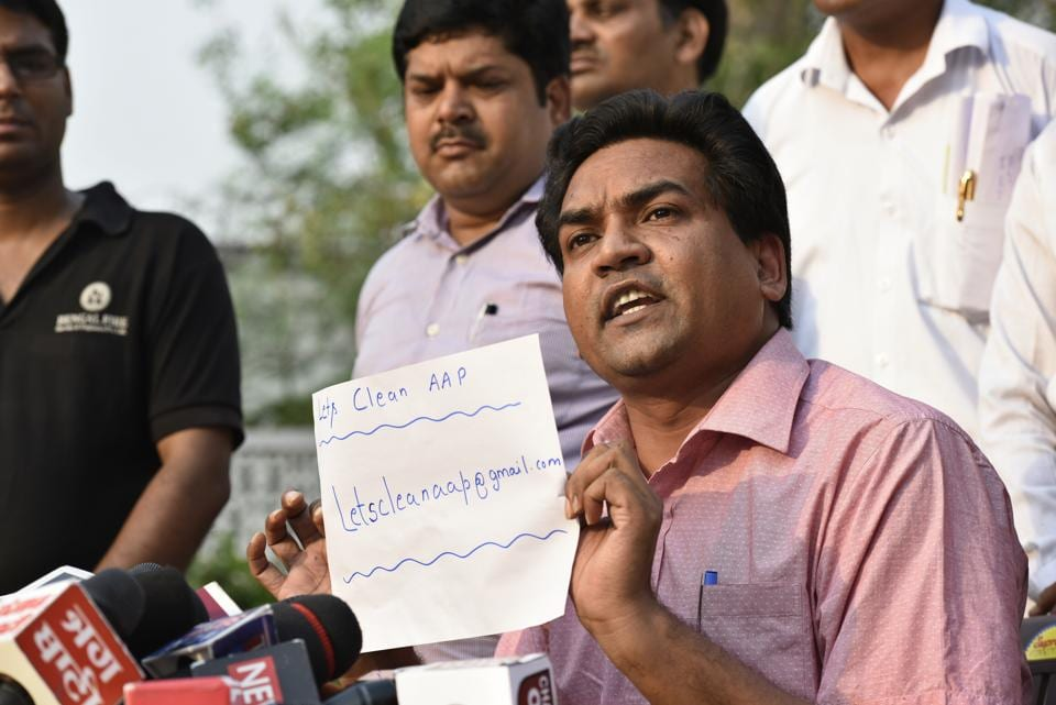 Former minister Kapil Mishra at a press conference at his residence in New Delhi on Monday.