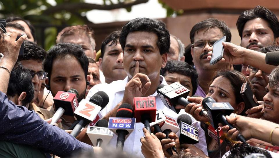 """AAP leader and former Delhi water and tourism minister Kapil Mishra at a press conference says chief minister Arvind Kejriwal took Rs 2 crore """"illegal cash"""" from city health minister Satyendra Jain."""