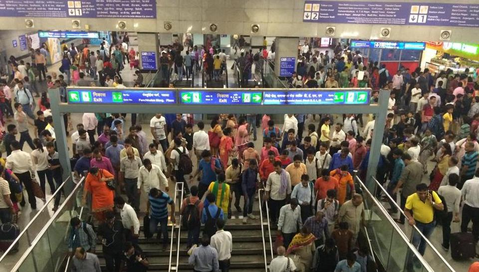 A view of a crowded Rajiv Chowk station. The government has decided to increase the Delhi Metro fares.