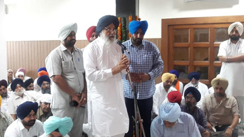 Former chief minister Parkash Singh Badal during a function at Rakhra village in Patiala on Sunday.