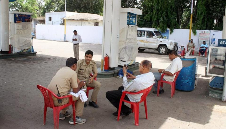 File photo of a petrol pump in Lucknow which was sealed after STF officials found electronic chips which were used to short-change customers.