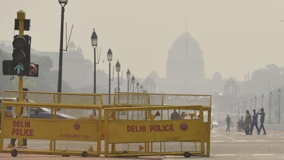 Yellow-coloured barricades at Rajpath in New Delhi.