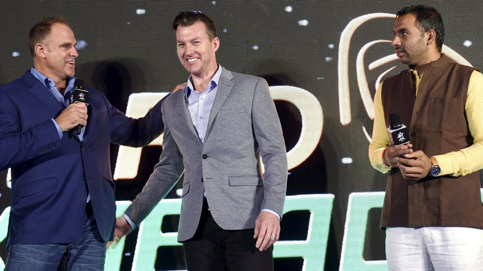 Former Australian cricket players Brett Lee and Matthew Hayden with top Indian kabaddi player Anup Kumar Yadav during a Pro Kabaddi league press conference.