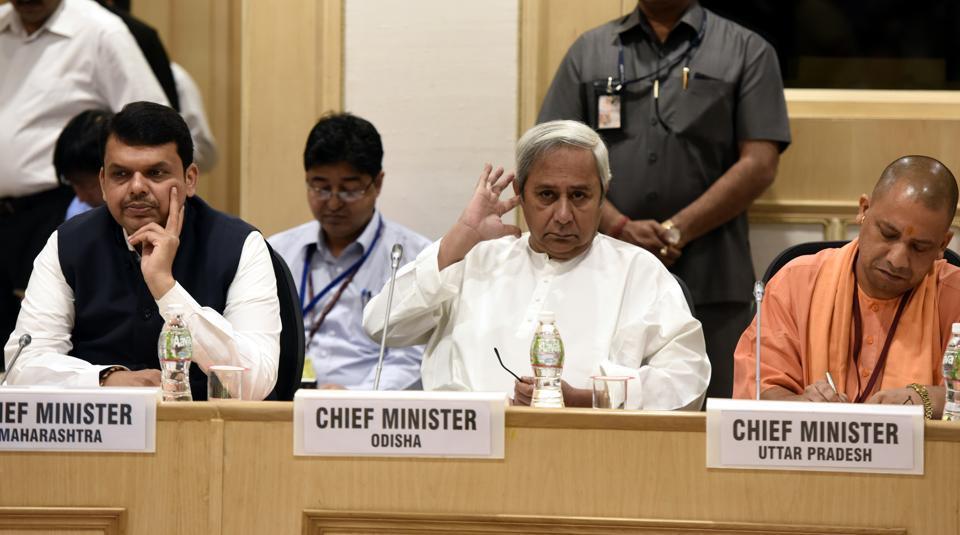 Maharashtra CM Devendra Fadnavis, Odisha CM Navin Patnaik and UP CM Yogi Adityanath at Vigyan Bhawan in New Delhi.