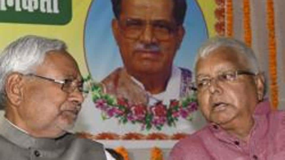 Chief minister Nitish Kumar with RJD chief Lalu Prasad at a function in Patna.