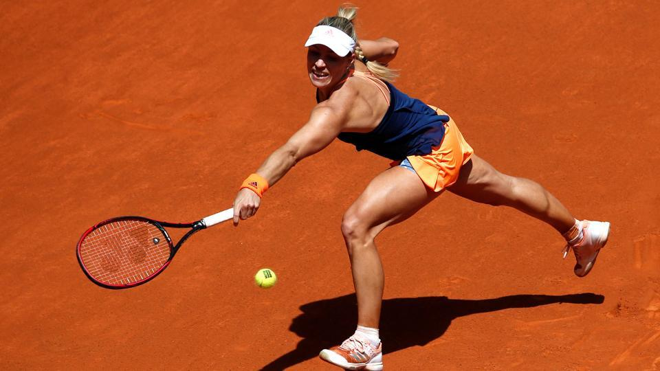 Angelique Kerber in action against Katerina Siniakova in a second round match of the Madrid Open.
