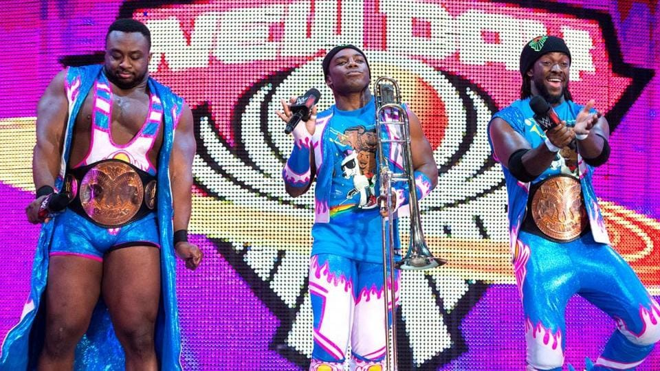 Professional wrestling stable, The New Day, during a WWE show.
