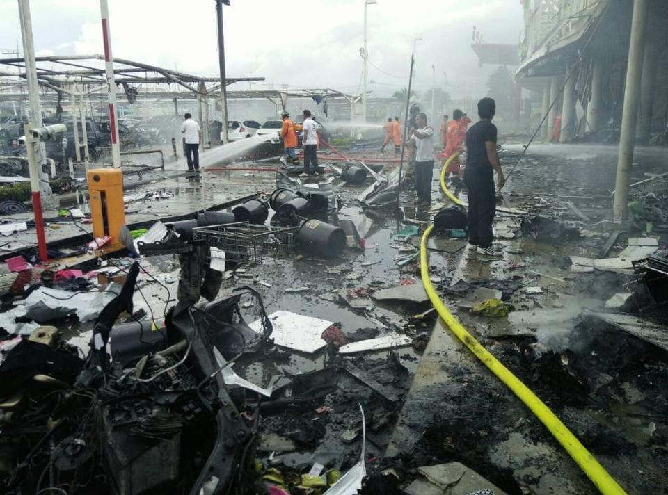The blast occurred outside a major grocery and retail chain.