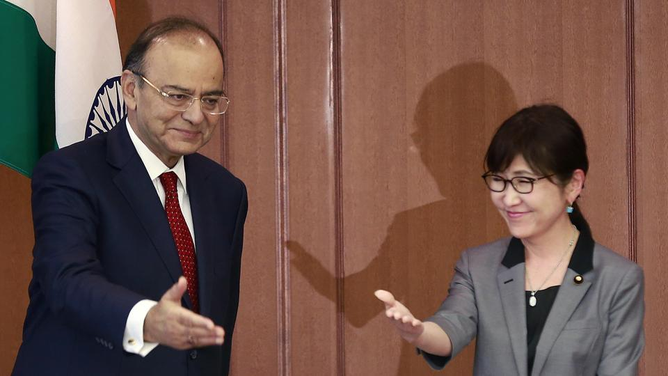 Defense minister Arun Jaitley, left, is greeted by his Japanese counterpart Tomomi Inada prior to their meeting at Defense Ministry in Tokyo on May 8.