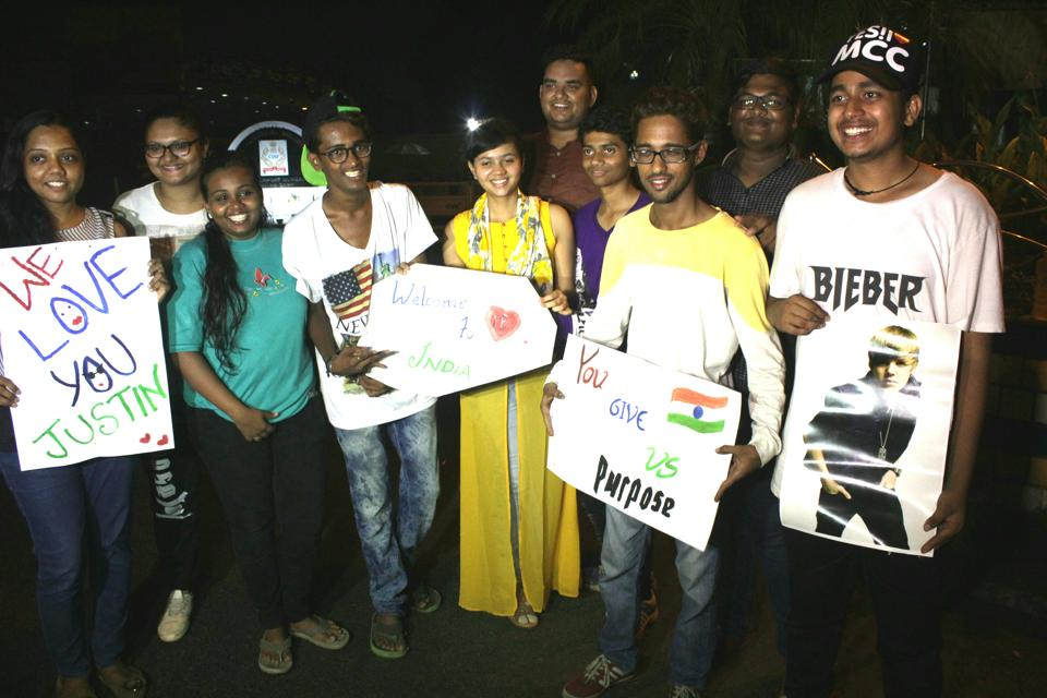 Singer Justin Bieber's fans wait Mumbai airport on Tuesday.