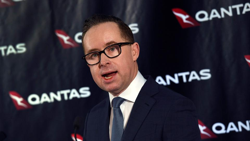 Qantas chief executive officer Alan Joyce speaks during a press conference.