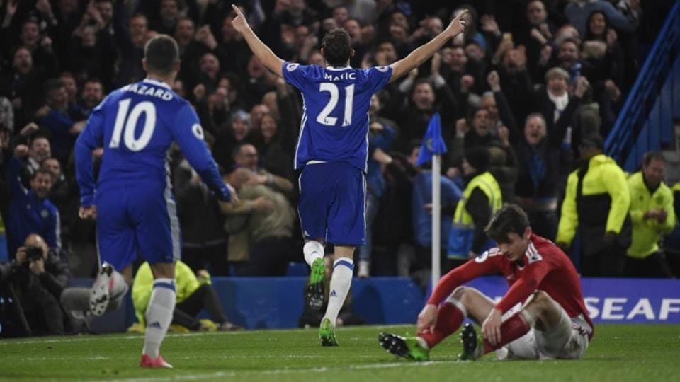 Chelsea Football Club's Nemanja Matic celebrates scoring the Antonio Conte-coached side's third goal during their Premier League match against Middlesbrough F.C. on Monday.