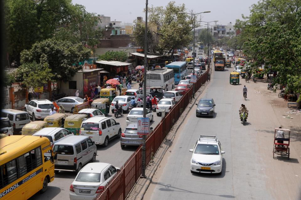 A bumper-to-bumper traffic snarl at Sheetla Mata Road on way to Sector-5 on Tuesday.