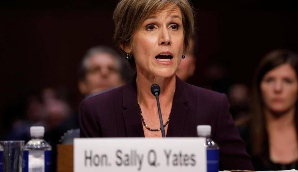 Former Acting Attorney General Sally Yates testifies about potential Russian interference in the presidential election before the Senate Judiciary Committee on Capitol Hill, Washington, D.C., US.