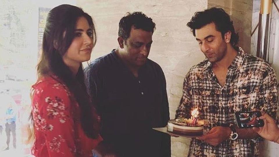 Katrina Kaif and Ranbir Kapoor with Anurag Basu on Jagga Jasoos sets.
