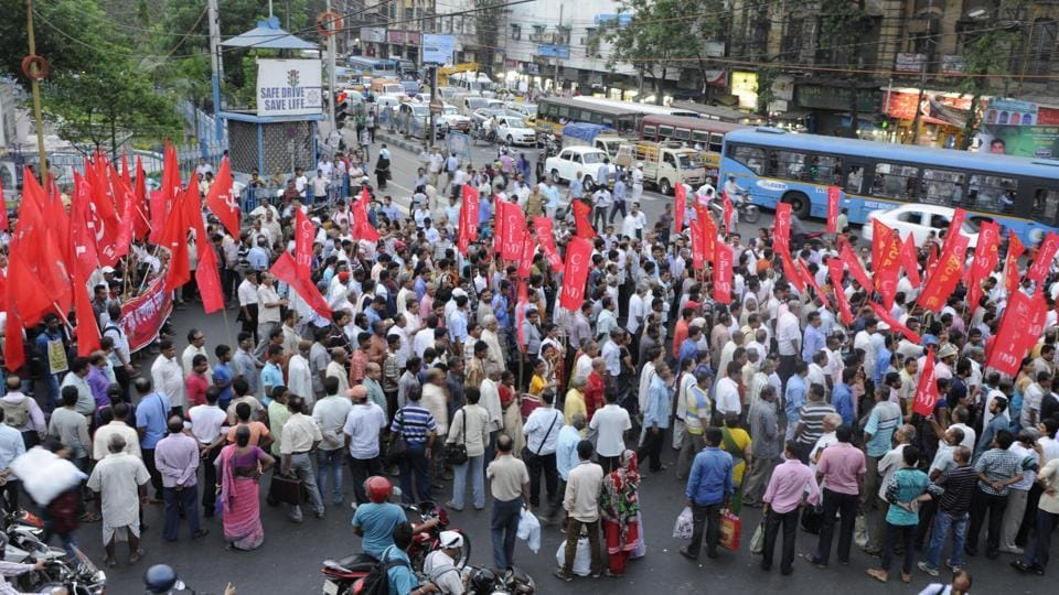 Left Front leaders and supporters take out a rally against Trinamool Congress leaders, involved in the Narada sting, at Esplanade in Kolkata.