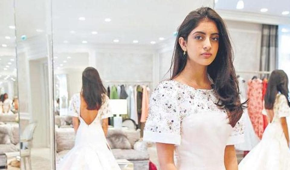 Navya Nanda Naveli tries out her Christian Dior gown.