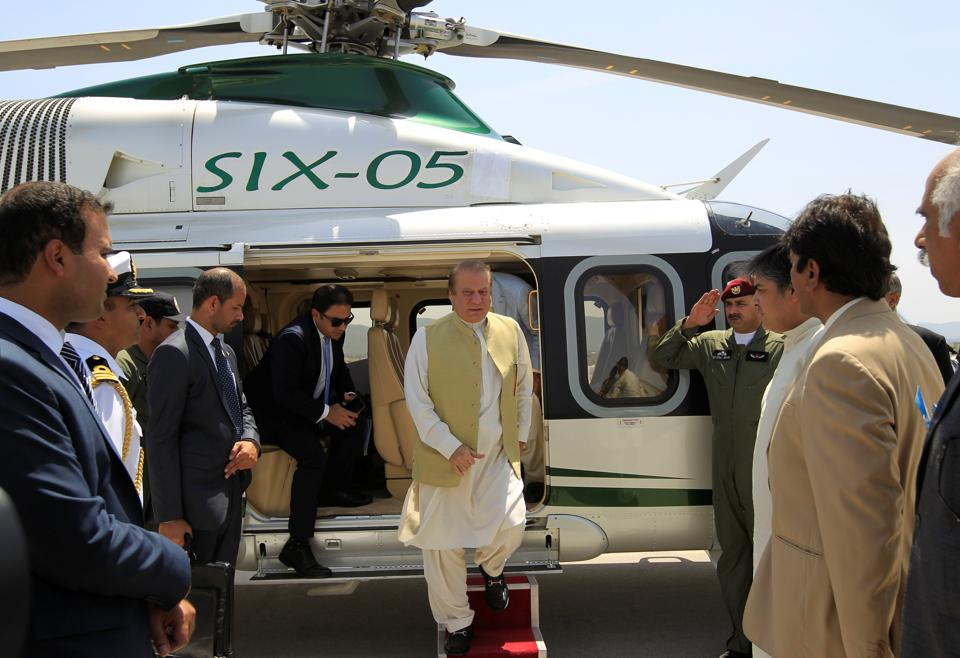 Pakistan Prime Minister Nawaz Sharif disembarks from his helicopter at the newly built airport in Islamabad on Saturday.