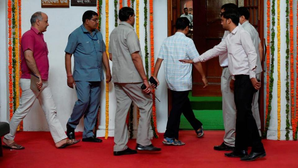 Delhi chief minister and AAP convener Arvind Kejriwal, followed by his deputy Manish Sisodia, arrives to attend the special session of the Delhi assembly on Tuesday.