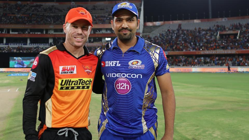 Mumbai Indians captain Rohit Sharma (R) won the toss and opted to bat against Sunrisers Hyderabad. (BCCI)