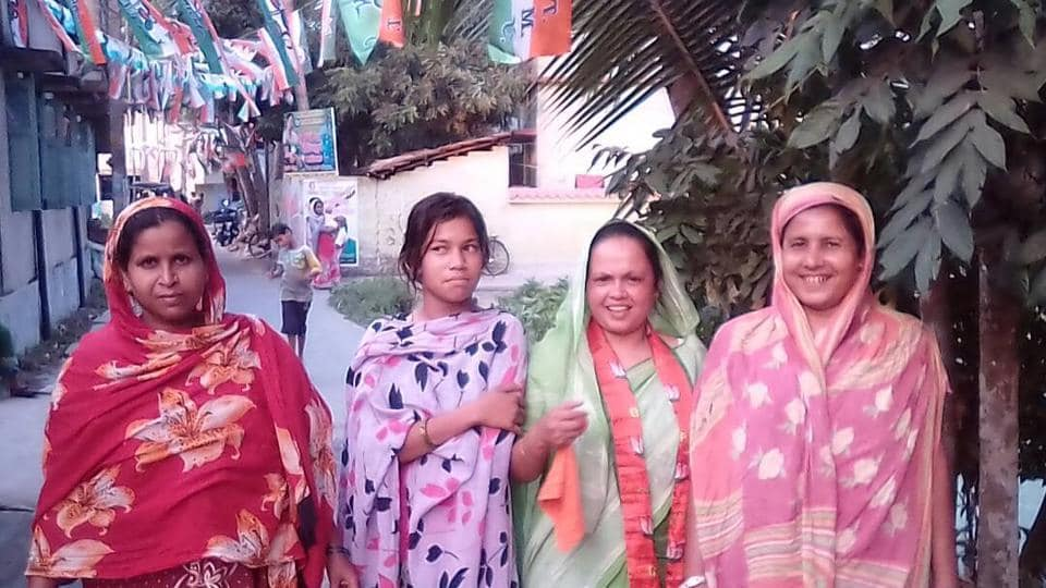 In ward 7 of Domkal municipality where Sabina Bibi (in green sari) is the BJP candidate only, 100 voters out of a total 4,500 are Hindus.