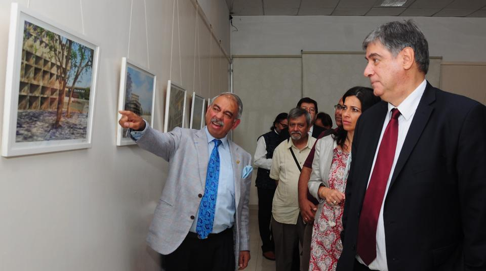 Joao da Camara (right), ambassador of Portugal to India, at the twoday Portuguese short film festival with Mac Sarin (left), president of Alliance Française, in Chandigarh on Tuesday.