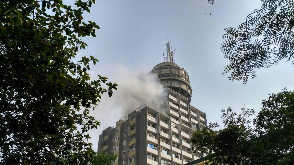 A fire broke out on the 11th floor of Antriksh Bhawan in Delhi this morning.