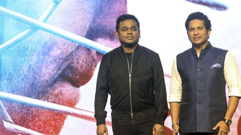 Sachin Tendulkar (R) with music composer AR Rahman during the launch of the anthem, 'Sachin Sachin', a song from his docu-drama 'Sachin: A Billion Dreams' in Mumbai on Tuesday.