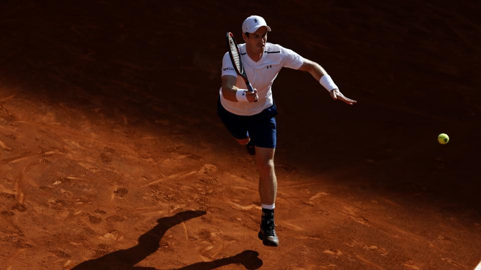 Andy Murray reaches for return in the match against Marius Copil at the Madrid Masters tennis tournament on Tuesday.