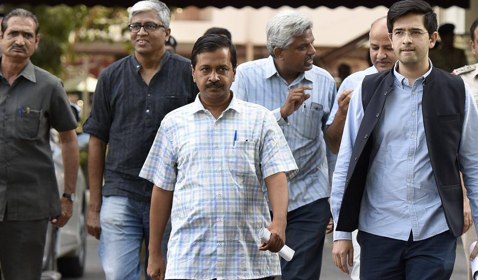 Delhi chief minister Arvind Kejriwal (in front) walking out of Election Commission's office with other AAP leaders in April this year.