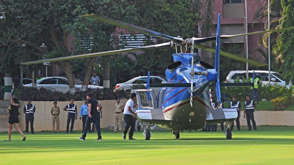 This chopper created a lot of buzz at the stadium, as fans expected Bieber to step out of it. (Satyabrata Tripathy/ HT PHOTO)