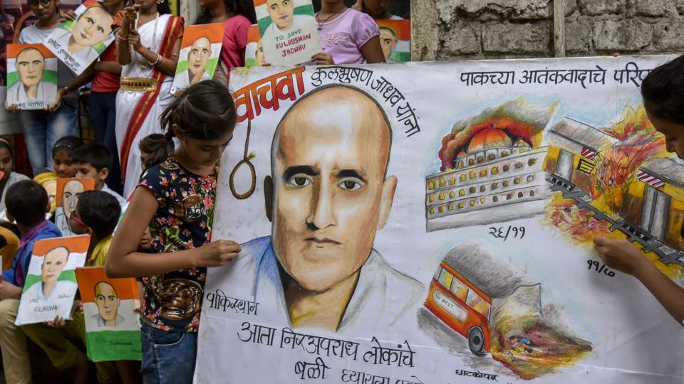 Students protest in Mumbai against Kulbhushan Jadhav's death sentence by Pakistan.
