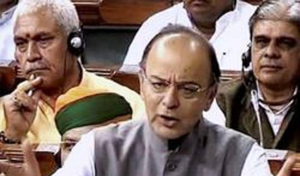 File photo of finance minister Arun Jaitley speaking in Lok Sabha.