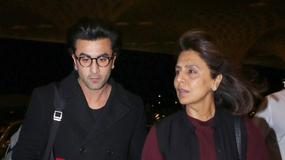 Actor Ranbir Kapoor spotted with mother Neetu Kapoor at the airport.