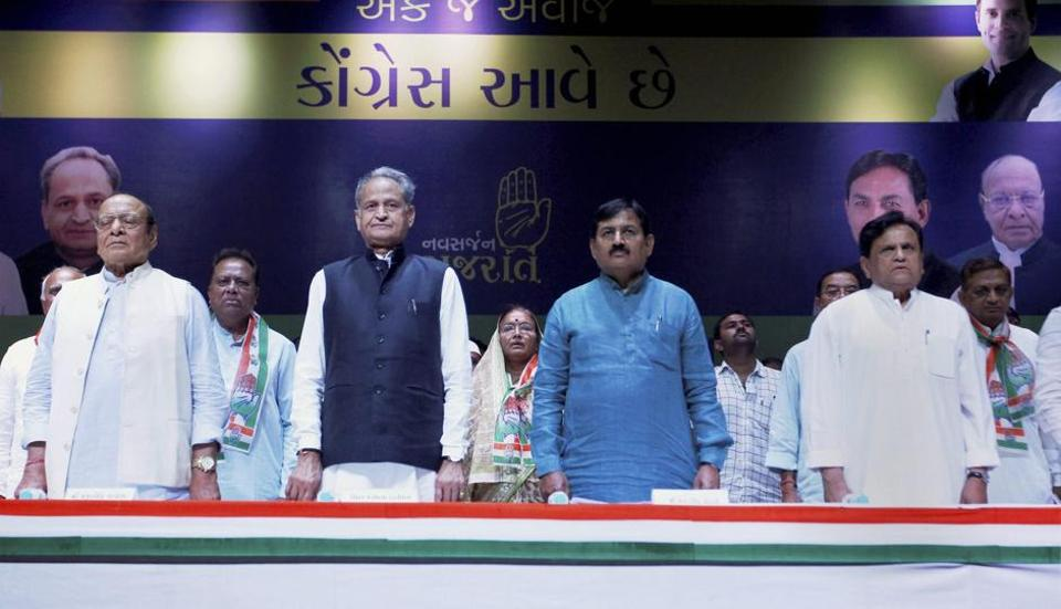 Senior Congress leader Ahmed Patel with former CM of Rajasthan Ashok Gehlot and others during the working committee meeting ahead of the upcoming assembly elections in Ahmedabad on Wednesday.