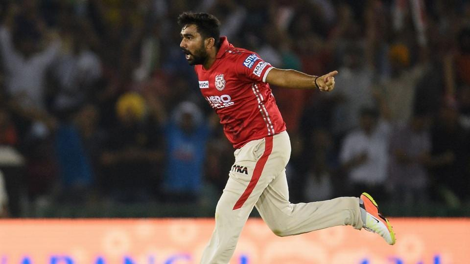 Kings XI Punjab's Rahul Tewatia impressed with the ball in his IPL debut for the team in the IPL 2017 match against Kolkata Knight Riders.