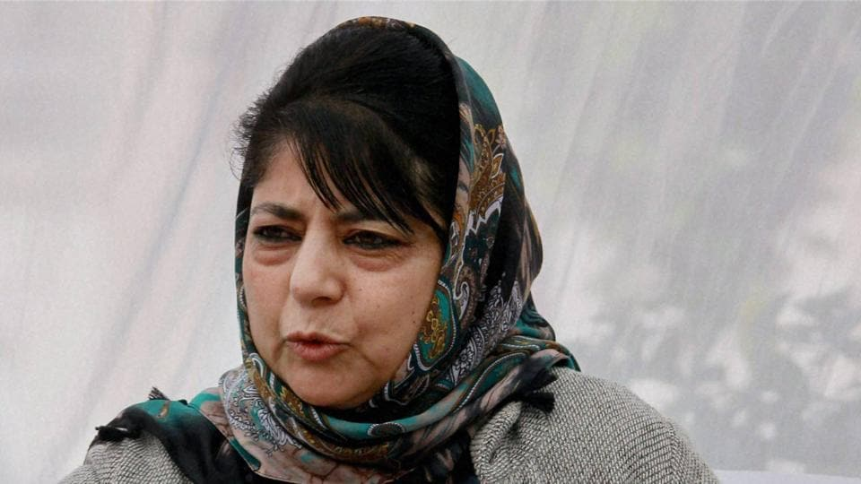 J-K chief minister Mehbooba Mufti addresses a press conference in Jammu.