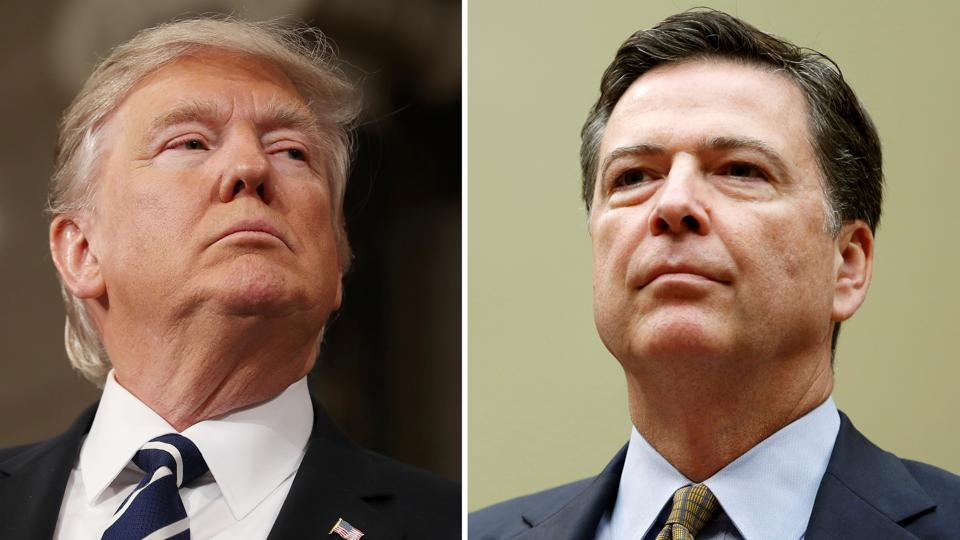 A combination photo shows US President Donald Trump (L) in the House of Representatives in Washington, U.S., on February 28, 2017 and FBI Director James Comey in Washington.